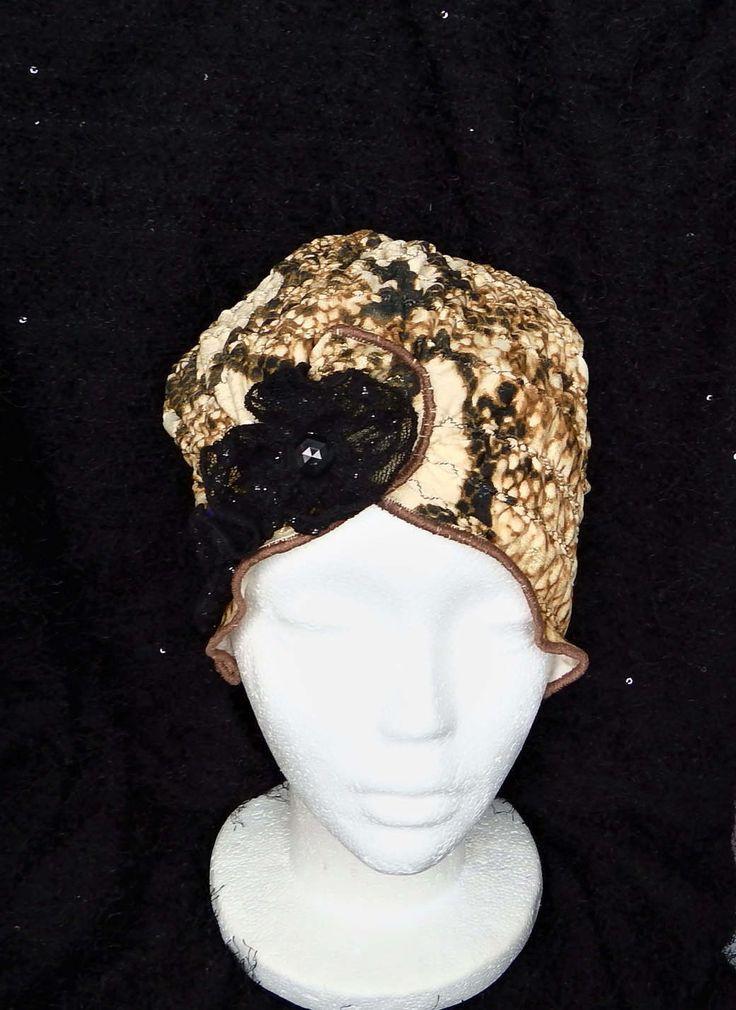 """Chapeau souple femme """"Glamour"""" chic léopard, chimio, couvre tête, turban, cancer, perte de cheveux fait à la main. de la boutique BleuKaktusHats sur Etsy"""