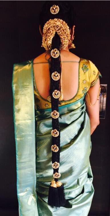 South Indian bride. Temple jewelry. Jhumkis.Light green silk kanchipuram sari.Braid with fresh flowers. Tamil bride. Telugu bride. Kannada bride. Hindu bride. Malayalee bride.South Indian wedding.