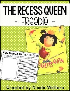 Enjoy this written response activity to go with The Recess Queen for FREE! Have a great start to the school year!