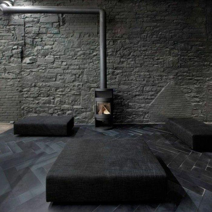 sol en parquet noir et meubles de couleur gris foncé