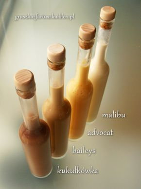 Przepis na cztery słodkie, kremowe likery domowej roboty - malibu, advocat, baileys i kukułkówka.