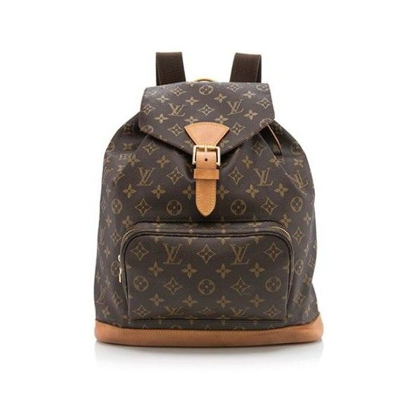 Pre-Owned Louis Vuitton Monogram Canvas Montsouris GM Backpack ($995) ❤ liked on Polyvore featuring bags, backpacks, brown, canvas knapsack, louis vuitton bags, monogrammed bags, canvas daypack and canvas rucksack