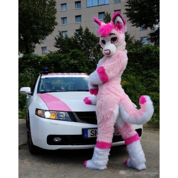 Pink Fursuit Husky Wolf Fox Mascot Costume Furry Costume Furry Suit Fursuit