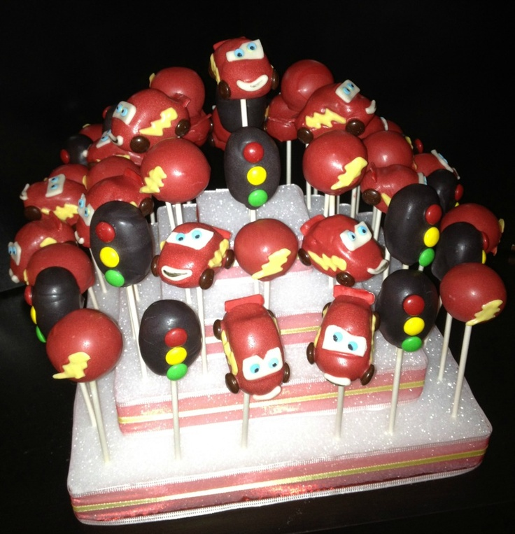 Disney Pixar's Cars themed Cake Pops by Sugar and Spiked. #cars #cakepops #lightning mcqueen #sugarandspiked