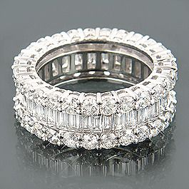 18K Gold Round & Baguette Diamond Eternity Band 6.00ct