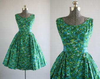 Annata 1950 abito / vestito di cotone 50s / di TuesdayRoseVintage