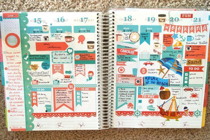 Erin Condren Life Planner Weekly Spread June 15th to 21st
