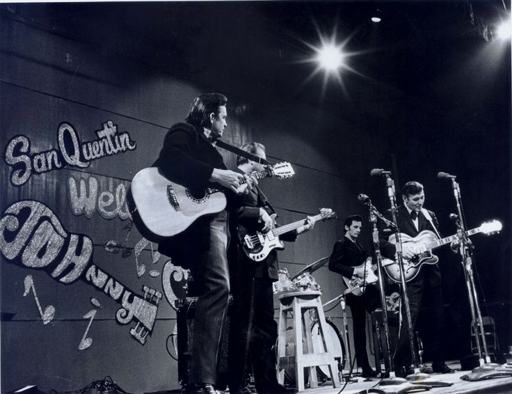 Johnny Cash and Carl Perkins performing at San Quentin State Prison, February 1969.