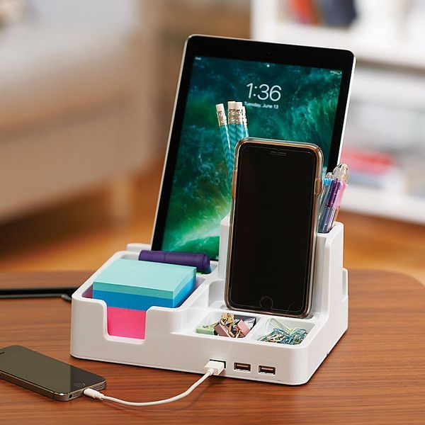 Improvements Desktop Organizer & Charging Station - White ($30) ❤ liked on Polyvore featuring home, home decor, office accessories, back to school, desk charger, desktop charger, desktop organizer, home office organization, home office storage and office storage