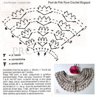 \ PINK ROSE CROCHET /: Gola Romântica