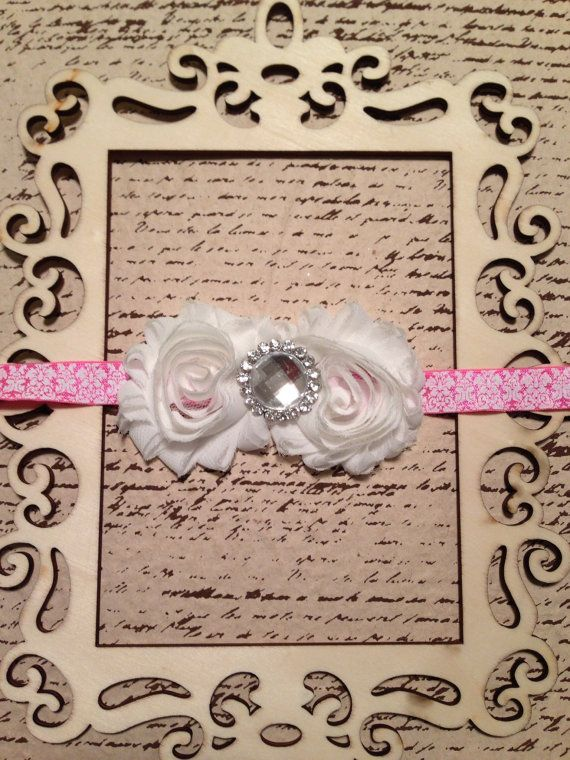 Pink and white shabby chic chiffon flower damask by DonnaBellaBows, $10.95