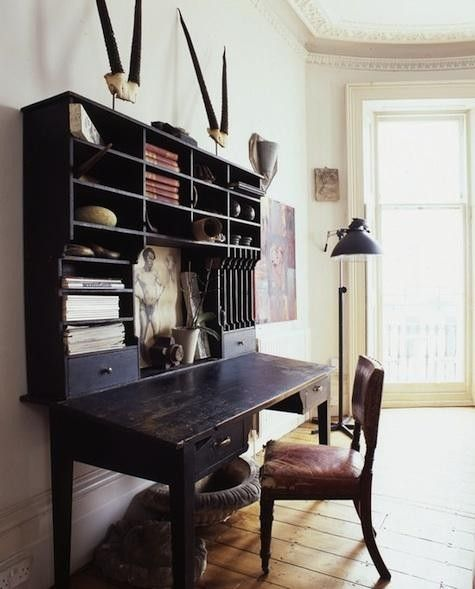 I like the starkness of this black rustic desk and hutch surround my the bare white walls.  It's masculine, modern and nostalgic all at the same time.