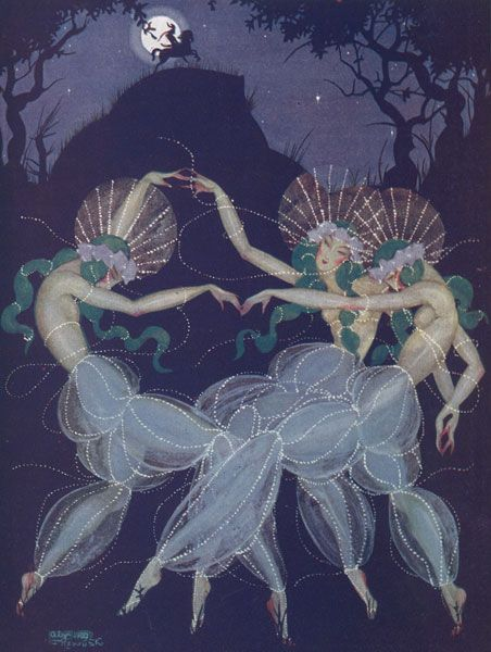 Art art deco illustration moon they are so gangly its for Art deco illustration