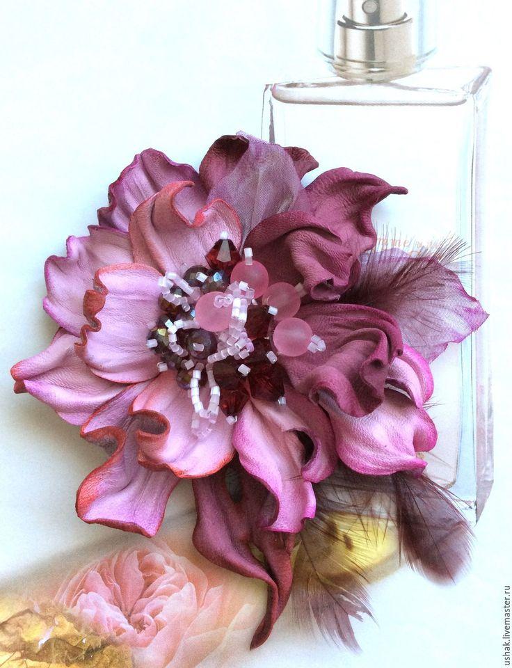 Купить Цветы из кожи . Брошь из кожи Ягодный мусс - бордовый, розовый, брошь, кожа