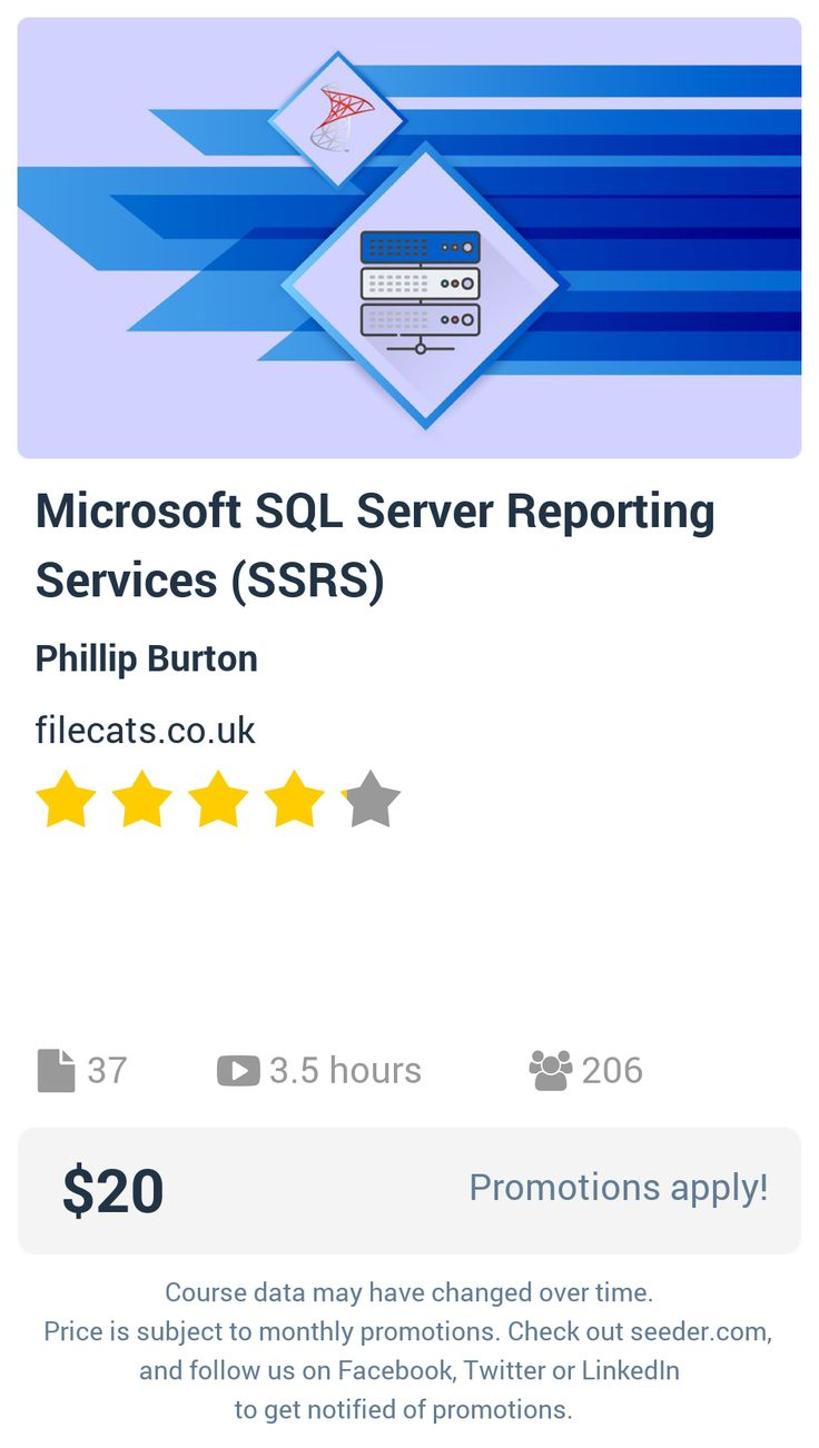Microsoft SQL Server Reporting Services (SSRS) | Seeder offers perhaps the most dense collection of high quality online courses on the Internet. Over 13,800 courses, monthly discounts up to 92% off, and every course comes with a 30-day money back guarantee.