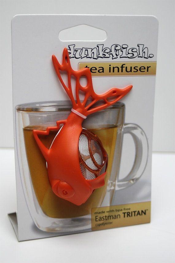 Orange Dunkfish Tea Infuser for loose leaf tea. By Dunkfish on Etsy