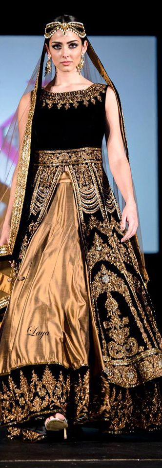 Black and gold lehenga, gold bridal outfit #desi #lehenga