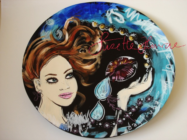 This was a commission for a Danish Company Pure Culture.   Painted on Bamboo plates.