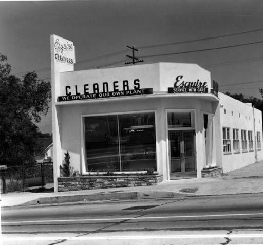 Esquire Cleaners at 7125 Foothill Blvd. in Tujunga, California, circa 1960s.  Little Landers Historical Society. San Fernando Valley History Digital Library.Foothills Blvd, Collection Pin, Fernando Valley, Digital Libraries, Esquire Cleaners, Historical, 7125 Foothills, Digital Collection, About 1960S
