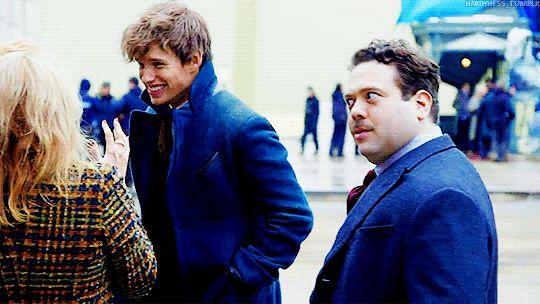 Eddie Redmayne being adorable on set with J. K. Rowling  gif