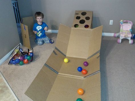 """Love this homemade skee ball game for kids + it goes great with """"Star Catcher"""" iPad/IPhone app! https://itunes.apple.com/us/app/star-catcher-bubble-breaker/id592061427?mt=8"""