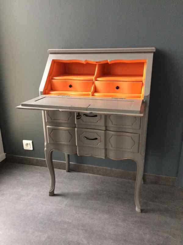 Secretaire Relooke En Orange Deco Diy Relooking Meuble Relooking Salle A Manger Relooker Meuble