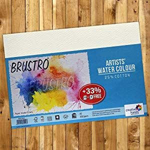 Brustro Artists Watercolour Paper A3 Size 25 Cotton 300 Gsm 9