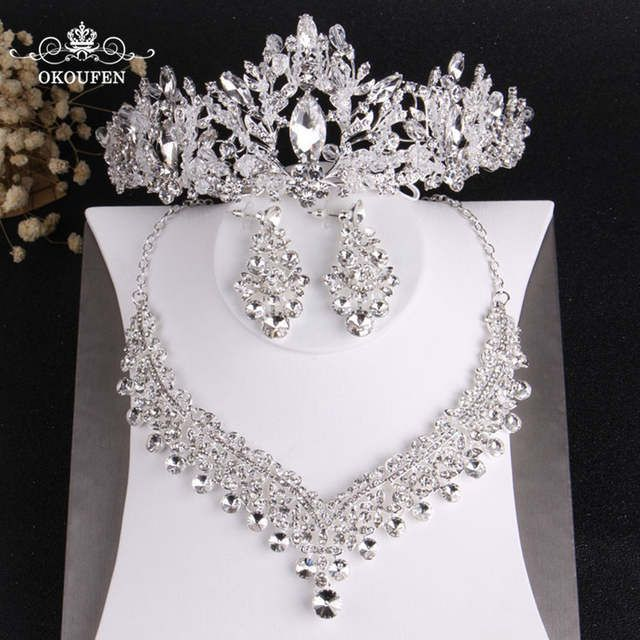 Online Shop High End Silver Women Hair Jewelry Set Tiaras Necklace Earrings Shiny Diamond Rhinestone Crowns Wedding Party Hair Accessories | Aliexpress Mobile