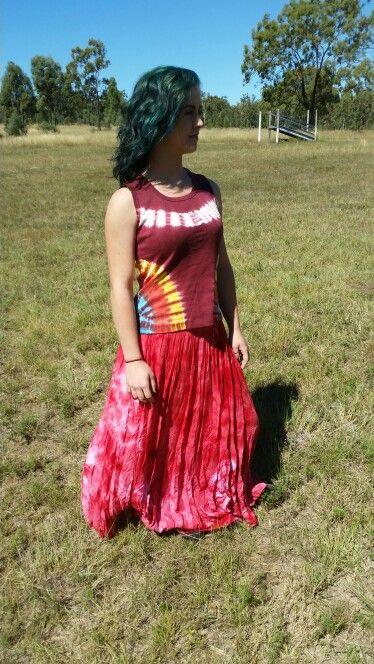 Wraparound cotton skirt and tye dye singlet