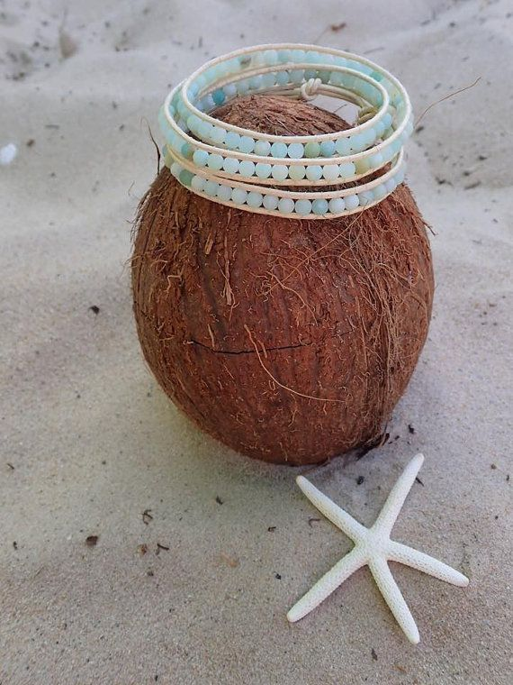 SALE Amazonite Wrap Bracelet Aqua beads Beaded by CoconutLily - £20.00