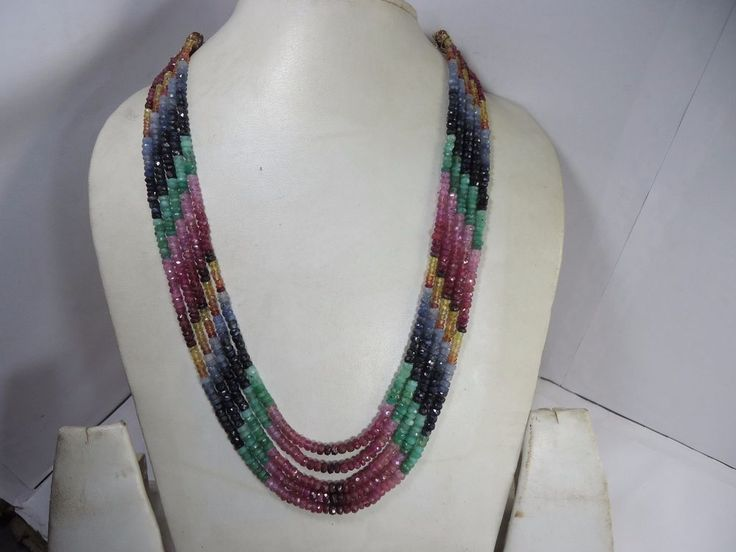FINEST TOP QUALITY NATURAL EMERALD RUBY SAPPHIRE 5 STRANDS NECKLACE 373.25Cts #GemstoneTopper #StrandString