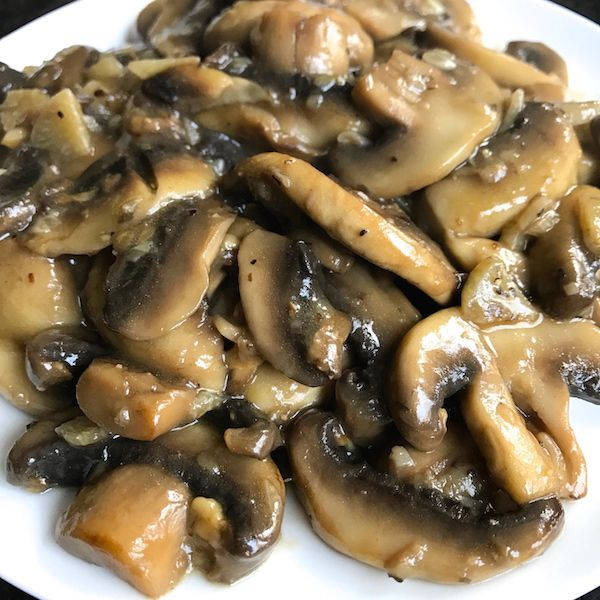 Tony's Sauteed Mushrooms – Sliced mushrooms sautéed in olive oil, flavored with garlic, then finished with a splash of wine. Makes a wonderful side or topping to just about anything.