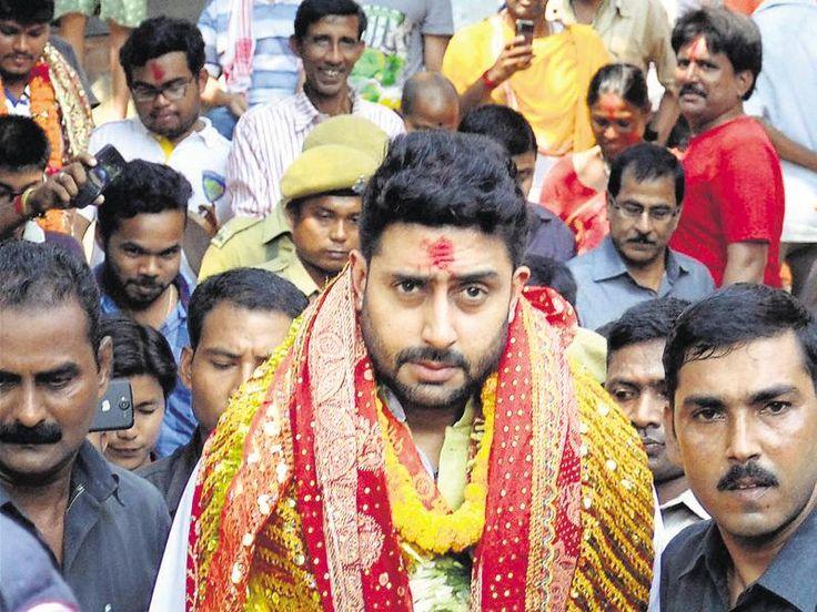 Bollywood actor Abhishek Bachchan visits Kamakhya temple in Guwahati on the occasion of Maha Saptami on Tuesday.  (PTI)
