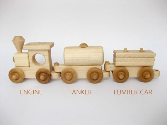 Wooden Toy Train Set 3 Cars natural wood kids toy by GreenBeanToys