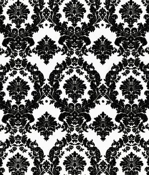White/Black Damask Matte Satin Fabric