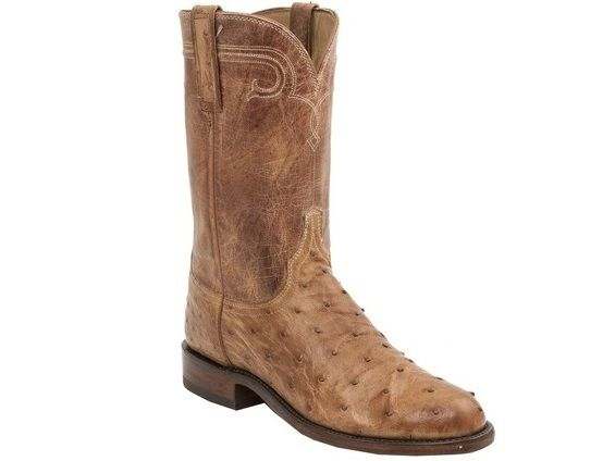 Shop New Lucchese HL3003 Rusk Mens Full Quill Ostrich and Mad Dog Goat Leather Western Roper Boots in Tan Burnished.  Free Shipping | Harrison Avenue
