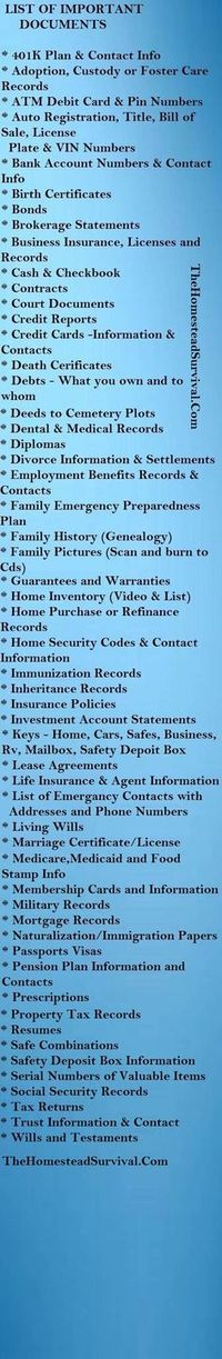 List Of Important Documents. Paper/ file organization. Also to ensure you have as part of an (organized) emergency evacuation plan.