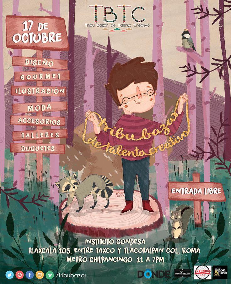 Poster hecho por @marcoenc de niños feos para Tribu bazar. La edición se efectuara el día Sábado 17 de Octubre 2015  todos invitados!. Evento de #otoño