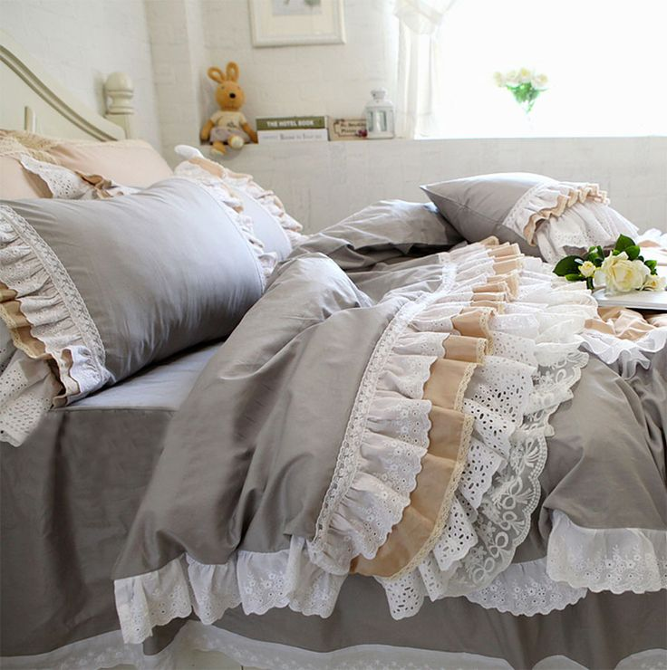 >> Click to Buy << Luxury lace ruffled bedding sets adult teen girl,full queen king cotton fairyfair bedclothes bed dress pillow case duvet cover #Affiliate