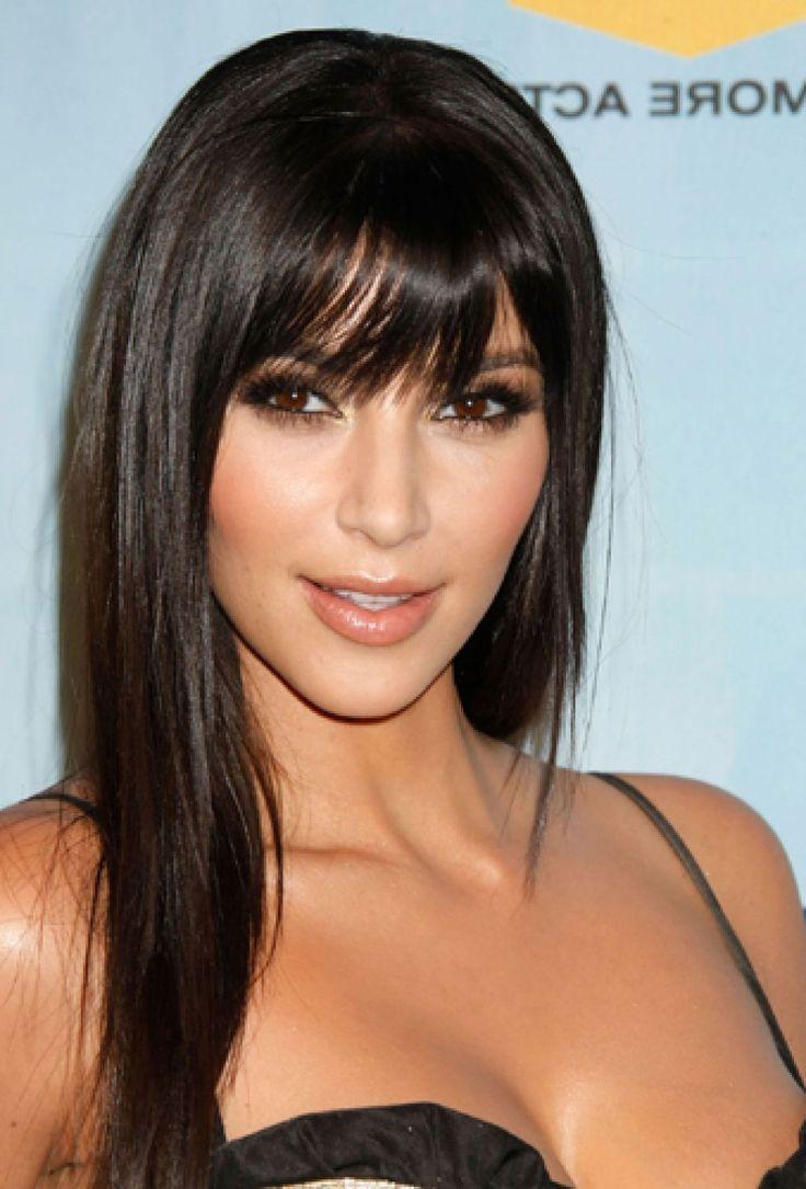 kim kardashian long hairstyles with side bang | hair | pinterest