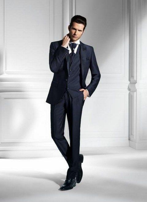 Modrý luxusný pánsky slim svadobný oblek lesklý PO36 - Svadobný salón Valery