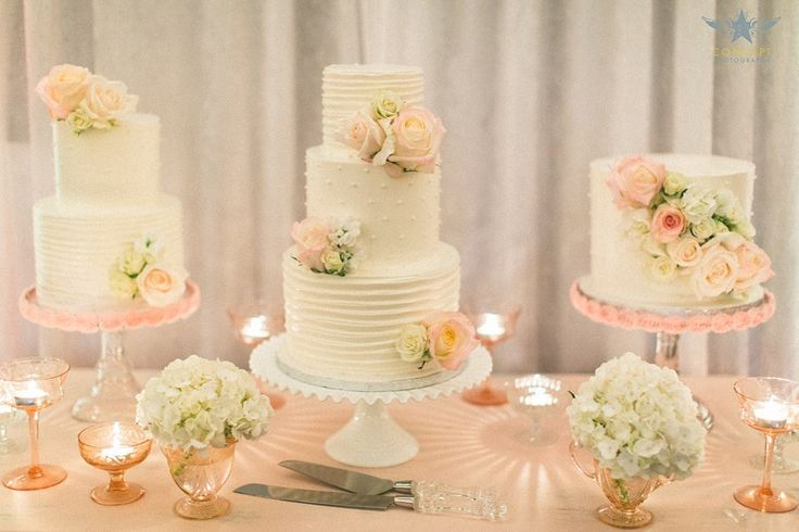 three gorgeous wedding cakes all in a row, what's not to love? see more beautiful images from Concept Photography here http://www.weddingchicks.com/vendor-guide/concept-photography-2/