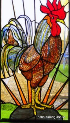Rooster stained glass