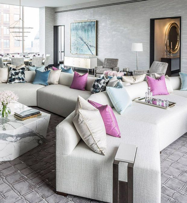 Image result for Varying textures, colors, and patterns move the eye around this living room designed by Drake/ Anderson and create a dialogue between eclectic pieces.