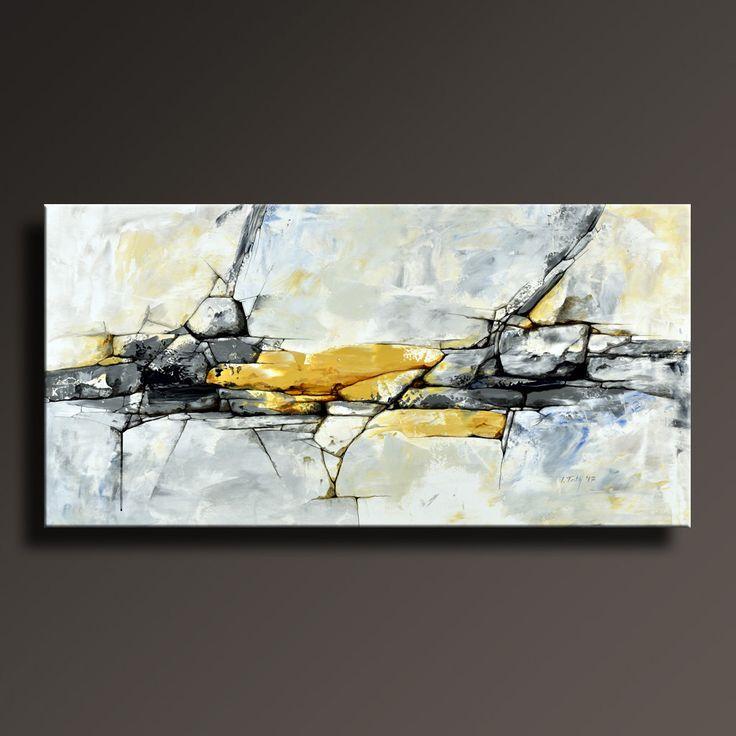 ORIGINELE ABSTRACT schilderij zwart wit geel grijs blauw door itarts