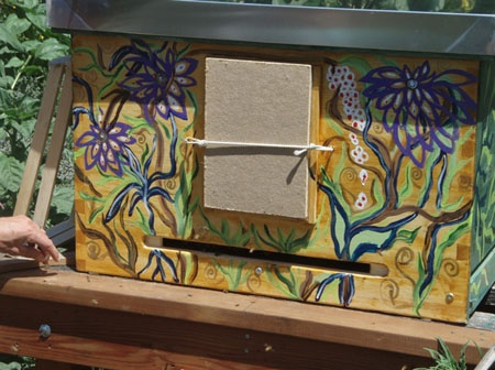"""""""the artwork adds love to the hive. The love makes the difference. The bees are absolutely aware of the painted hive. They have a holographic perception of where they are. They can feel the painting from inside the hive because it was done with great love."""""""