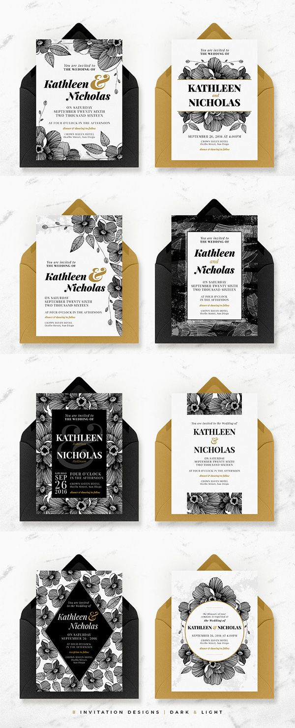 Midnight Blossom Complete Wedding Suite A beautiful hand-drawn floral, classically chic, complete wedding collection in simple black & white with gold accents. This complete suite contains everything you need leading up to your wedding, the day itself and even afterwards.