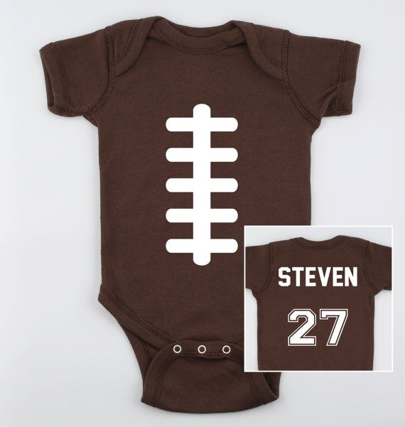 Football Baby Bodysuit with Name and Number on the Back Cute Baby Clothes on Etsy, $19.95