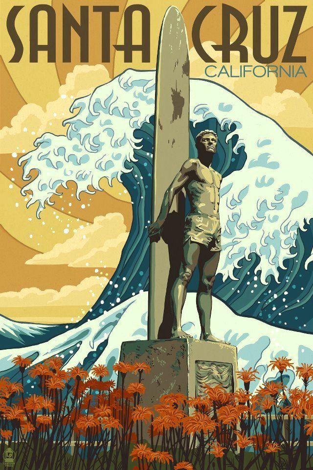 (See T-Shirt Pin) CAs Surf | Santa Cruz, California USA vintage travel poster surfing