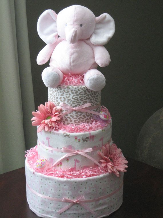 Pink and grey elephant diaper cake baby shower for Baby shower decoration ideas with diapers